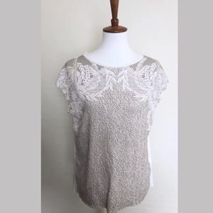 Zara collection cream lace knit top medium